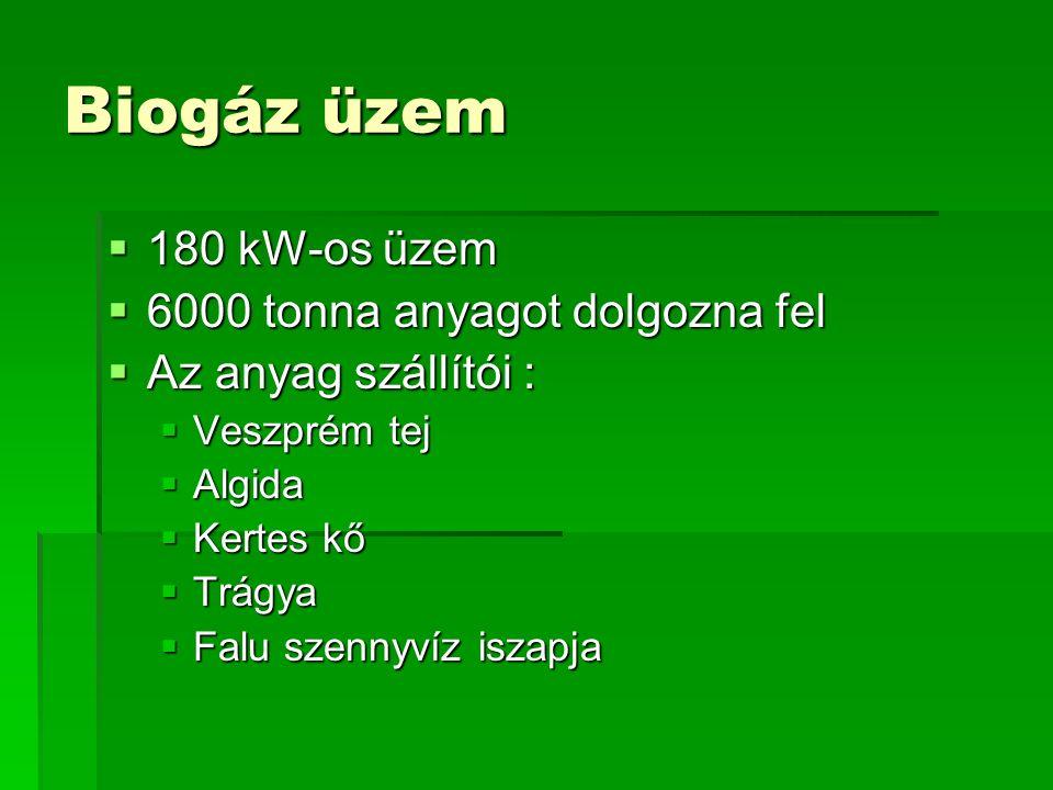 Biogáz üzem  180 kW-os üzem  6000 tonna anyagot dolgozna fel  Az anyag szállítói :  Veszprém tej  Algida  Kertes kő  Trágya  Falu szennyvíz is