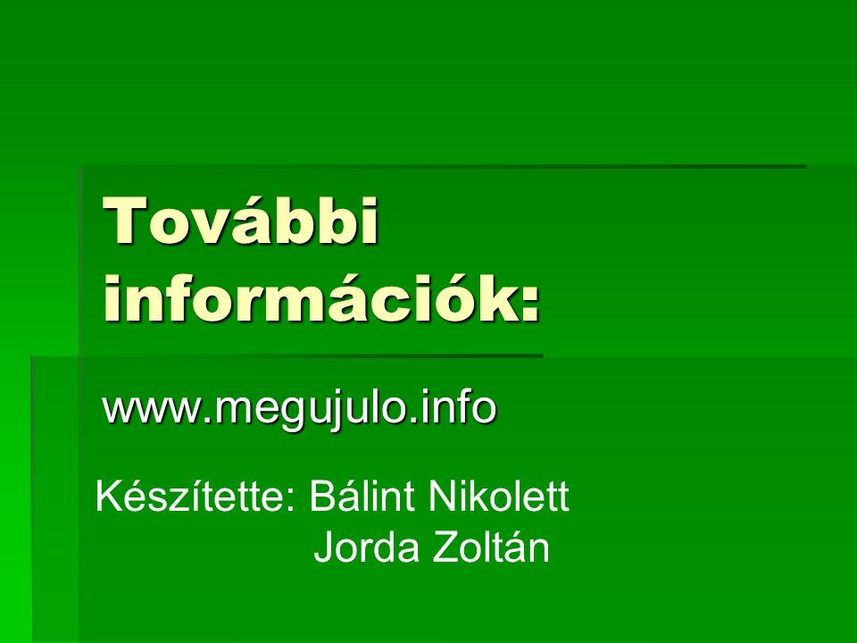 További információk: www.megujulo.info Készítette: Bálint Nikolett Jorda Zoltán