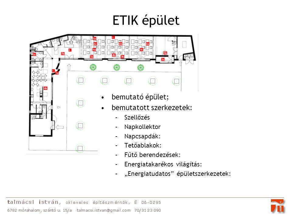 """ETIK épület bemutató épület; bemutatott szerkezetek: –Szellőzés –Napkollektor –Napcsapdák: –Tetőablakok: –Fűtő berendezések: –Energiatakarékos világítás: –""""Energiatudatos épületszerkezetek:"""