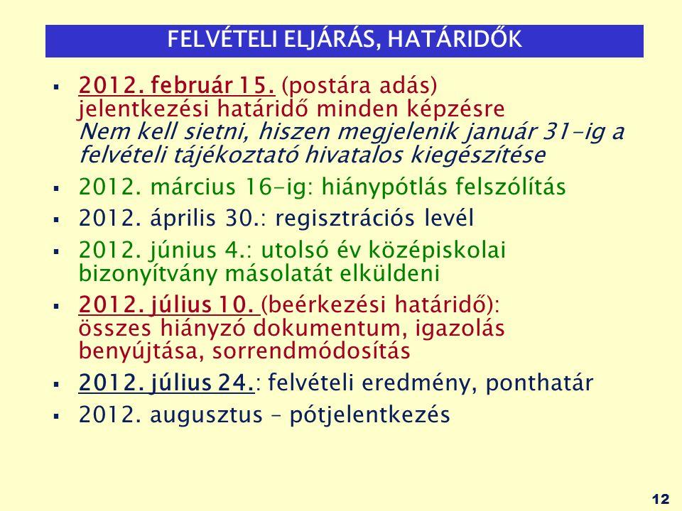 12 FELVÉTELI ELJÁRÁS, HATÁRIDŐK  2012. február 15.