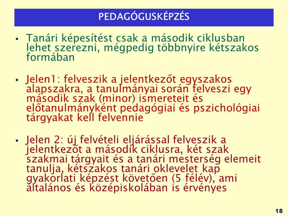 18 PEDAGÓGUSKÉPZÉS  Tanári képesítést csak a második ciklusban lehet szerezni, mégpedig többnyire kétszakos formában  Jelen1: felveszik a jelentkezőt egyszakos alapszakra, a tanulmányai során felveszi egy második szak (minor) ismereteit és előtanulmányként pedagógiai és pszichológiai tárgyakat kell felvennie  Jelen 2: új felvételi eljárással felveszik a jelentkezőt a második ciklusra, két szak szakmai tárgyait és a tanári mesterség elemeit tanulja, kétszakos tanári oklevelet kap gyakorlati képzést követően (5 félév), ami általános és középiskolában is érvényes