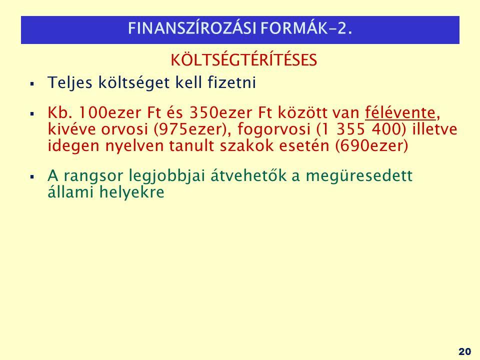 FINANSZÍROZÁSI FORMÁK-2. KÖLTSÉGTÉRÍTÉSES  Teljes költséget kell fizetni  Kb.