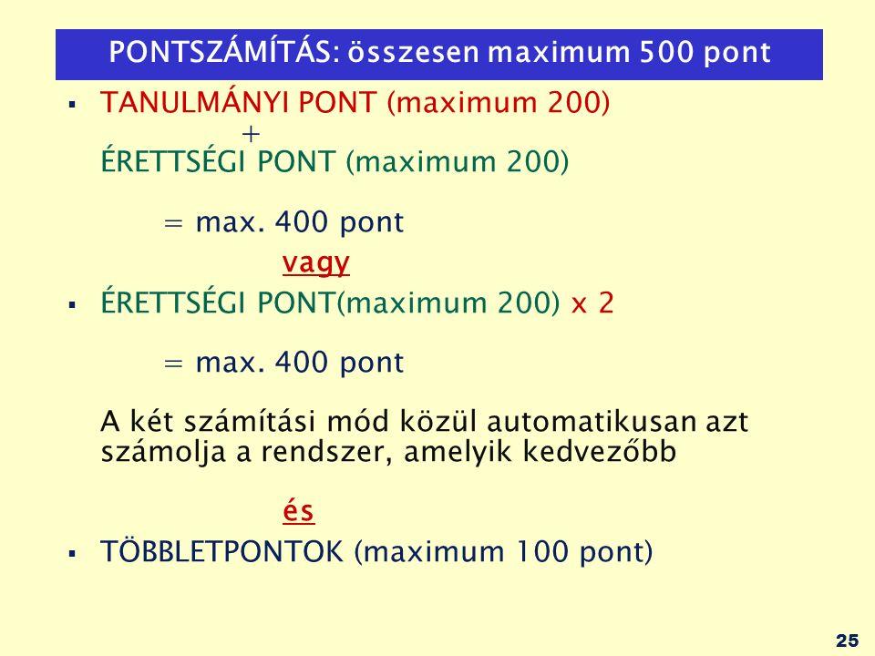 25 PONTSZÁMÍTÁS: összesen maximum 500 pont  TANULMÁNYI PONT (maximum 200) + ÉRETTSÉGI PONT (maximum 200) = max.