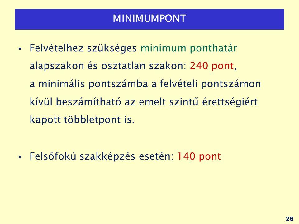 26 MINIMUMPONT  Felvételhez szükséges minimum ponthatár alapszakon és osztatlan szakon: 240 pont, a minimális pontszámba a felvételi pontszámon kívül beszámítható az emelt szintű érettségiért kapott többletpont is.