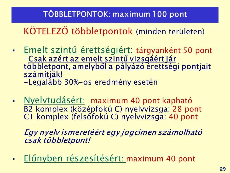 29 TÖBBLETPONTOK: maximum 100 pont KÖTELEZŐ többletpontok (minden területen)  Emelt szintű érettségiért: tárgyanként 50 pont -Csak azért az emelt szintű vizsgáért jár többletpont, amelyből a pályázó érettségi pontjait számítják.