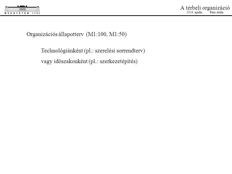 A térbeli organizáció Organizációs állapotterv (M1:100, M1:50) Technológiánként (pl.: szerelési sorrendterv) vagy időszakonként (pl.: szerkezetépítés) 2016.