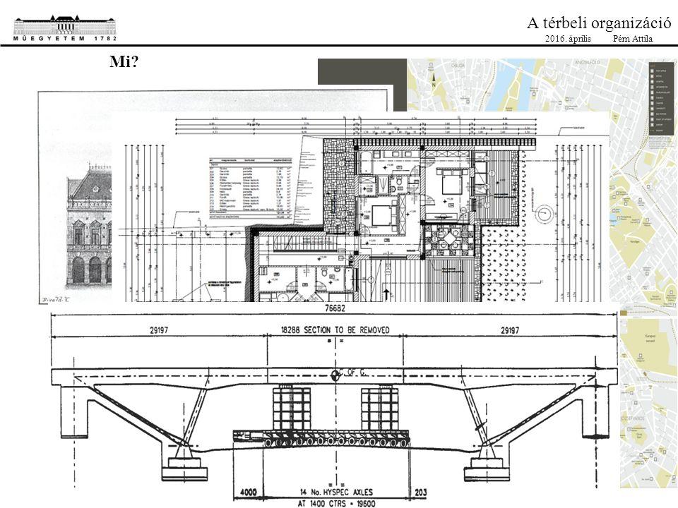 A térbeli organizáció Helyszíni bejárás telekhatárok, szomszédok, telekadottságok (lejtés, árkok, aknák, növényzet…) különleges akadályok: légkábel, meglévő épületek, talajviszonyok… természetvédelmi követelmények környező beépítés bérelhető környező területek, épületek, infrastruktúra-csatlakozási helyek, ideiglenes kerítés helye 1.Az ajánlati dokumentáció 2.Építéshelyi bejárás 3.Keretfeltételek egyeztetése az építtetővel 4.Idő-, Techn.-, Erőforrás terv 5.Organizációs elemek tervezése 6.Organizációs helyszínrajz elkészítése, részletrajzok, állapottervek 7.Ellenőrzés 2016.