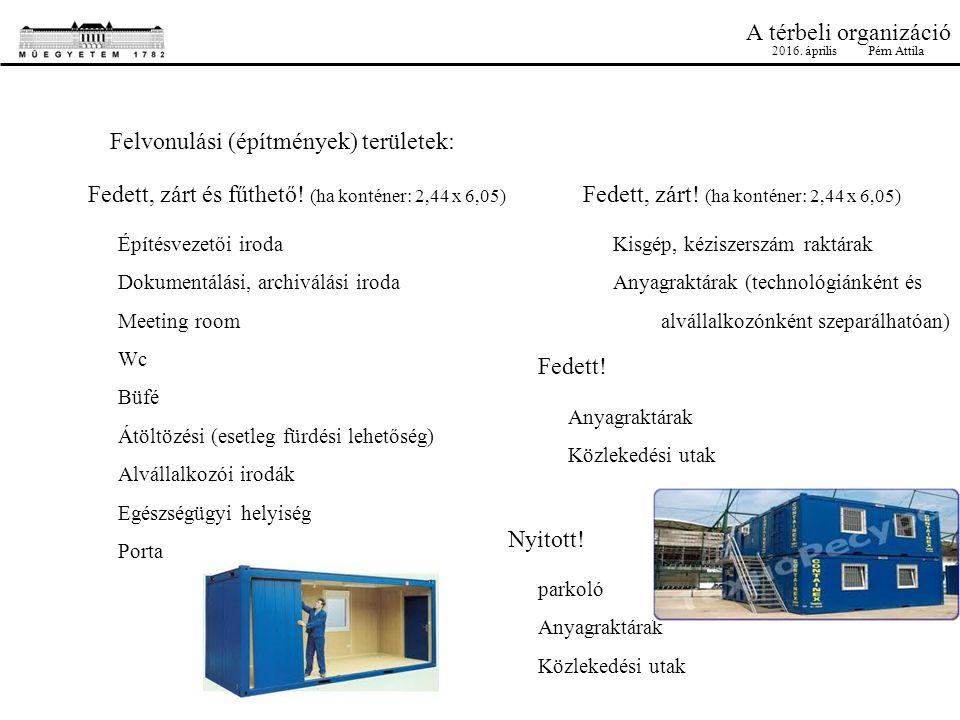 A térbeli organizáció Felvonulási (építmények) területek: Építésvezetői iroda Dokumentálási, archiválási iroda Meeting room Wc Büfé Átöltözési (esetle
