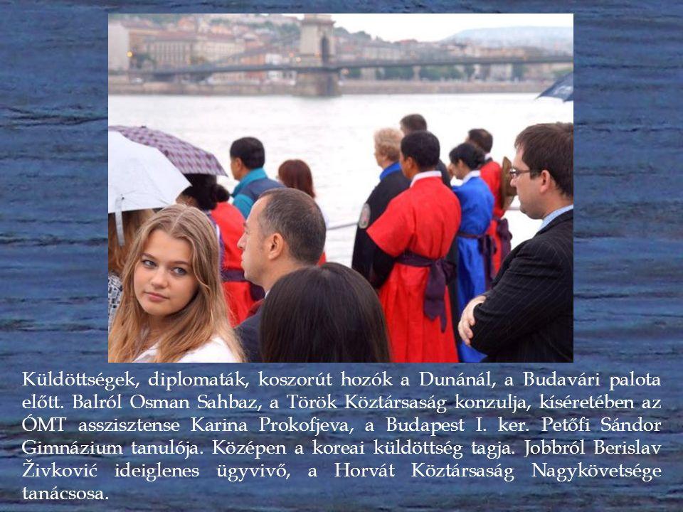 Küldöttségek, diplomaták, koszorút hozók a folyóról figyelik, miként helyezik a hajósok koszorúikat a Duna vizére.