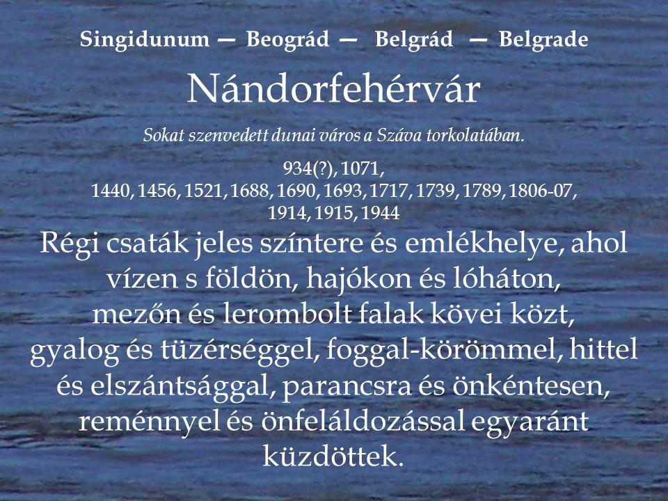 """""""Európa védőbástyája Magyarország és a """"kulcsa Nándorfehérvár 1456 A """"királyi hajósnép erős kikötője a Duna és a Száva találkozásánál."""