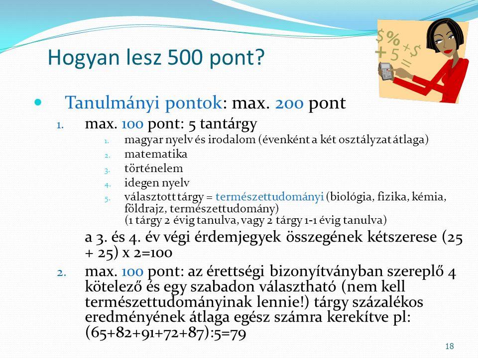 Hogyan lesz 500 pont? Tanulmányi pontok: max. 200 pont 1. max. 100 pont: 5 tantárgy 1. magyar nyelv és irodalom (évenként a két osztályzat átlaga) 2.