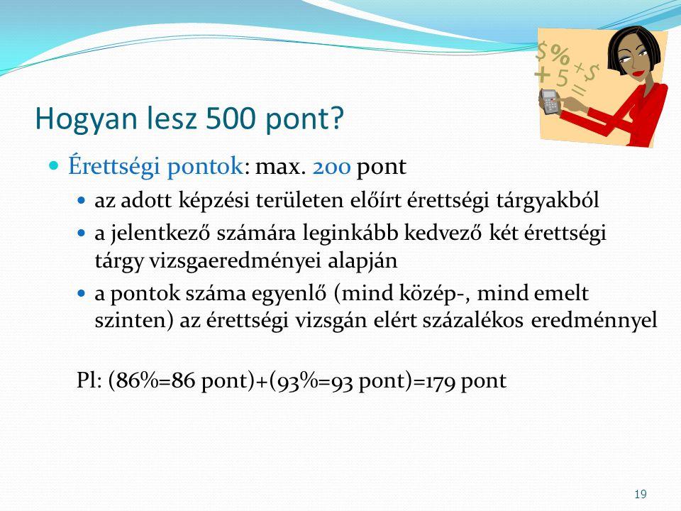 Hogyan lesz 500 pont? Érettségi pontok: max. 200 pont az adott képzési területen előírt érettségi tárgyakból a jelentkező számára leginkább kedvező ké