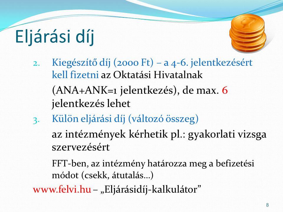 Eljárási díj 2. Kiegészítő díj (2000 Ft) – a 4-6. jelentkezésért kell fizetni az Oktatási Hivatalnak (ANA+ANK=1 jelentkezés), de max. 6 jelentkezés le