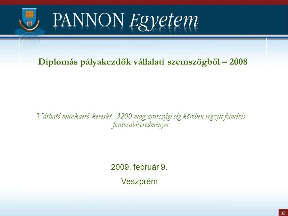 12 Diplomás pályakezdők vállalati szemszögből – 2008 Várható munkaerő-kereslet - 3200 magyarországi cég körében végzett felmérés fontosabb eredményei 2009.