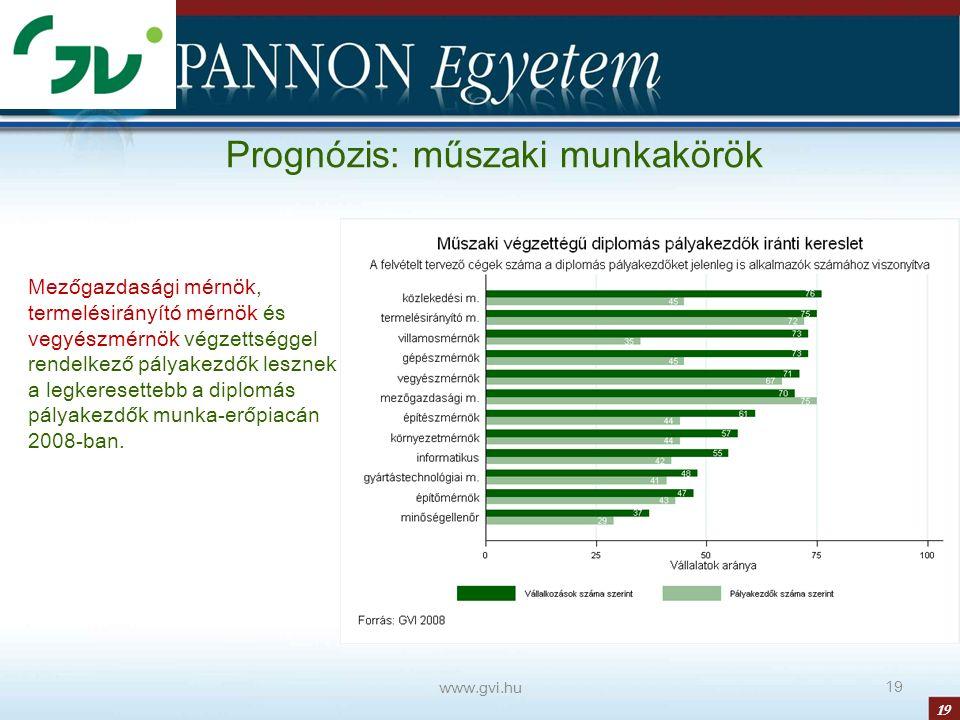 19 www.gvi.hu 19 Prognózis: műszaki munkakörök Mezőgazdasági mérnök, termelésirányító mérnök és vegyészmérnök végzettséggel rendelkező pályakezdők lesznek a legkeresettebb a diplomás pályakezdők munka-erőpiacán 2008-ban.