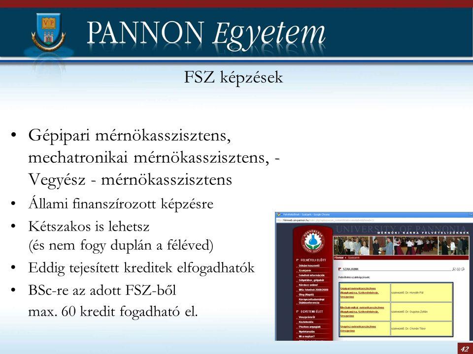 42 FSZ képzések Gépipari mérnökasszisztens, mechatronikai mérnökasszisztens, - Vegyész - mérnökasszisztens Állami finanszírozott képzésre Kétszakos is