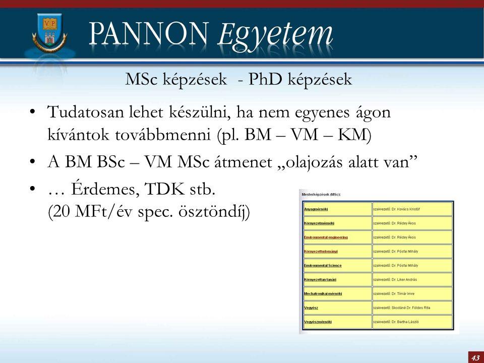 """43 MSc képzések - PhD képzések Tudatosan lehet készülni, ha nem egyenes ágon kívántok továbbmenni (pl. BM – VM – KM) A BM BSc – VM MSc átmenet """"olajoz"""