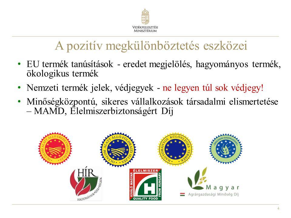 5 EU minőségpolitika VM működteti: A mezőgazdasági termékek és élelmiszerek; Borok; Szeszes italok; Hagyományos különleges termékek minőségi rendszerét.