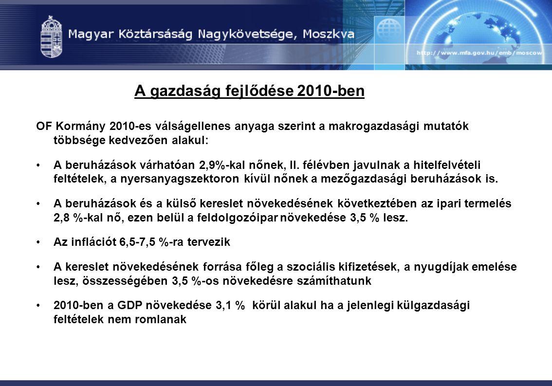 A gazdaság fejlődése 2010-ben OF Kormány 2010-es válságellenes anyaga szerint a makrogazdasági mutatók többsége kedvezően alakul: A beruházások várhat