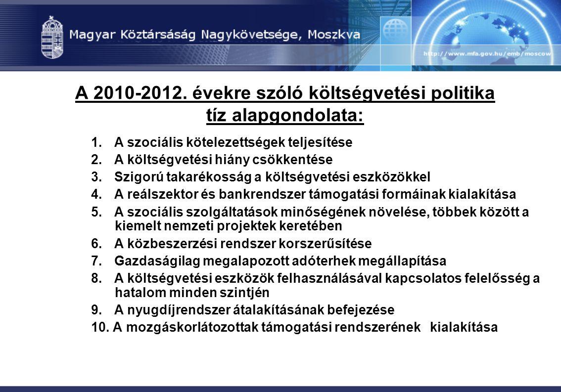 A 2010-2012. évekre szóló költségvetési politika tíz alapgondolata: 1. A szociális kötelezettségek teljesítése 2. A költségvetési hiány csökkentése 3.