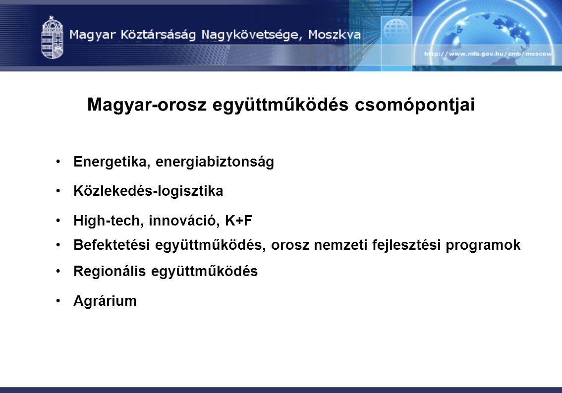 Magyar-orosz együttműködés csomópontjai Energetika, energiabiztonság Közlekedés-logisztika High-tech, innováció, K+F Befektetési együttműködés, orosz