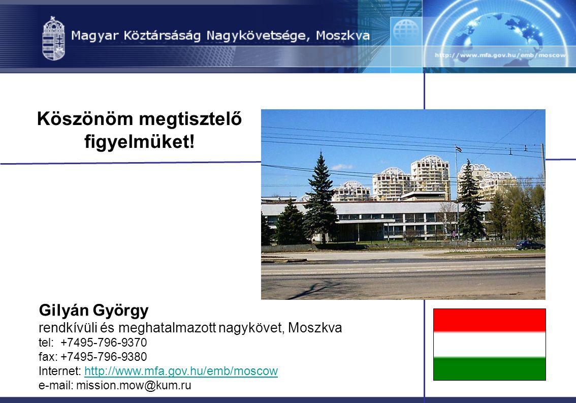 Köszönöm megtisztelő figyelmüket! Gilyán György rendkívüli és meghatalmazott nagykövet, Moszkva tel: +7495-796-9370 fax: +7495-796-9380 Internet: http
