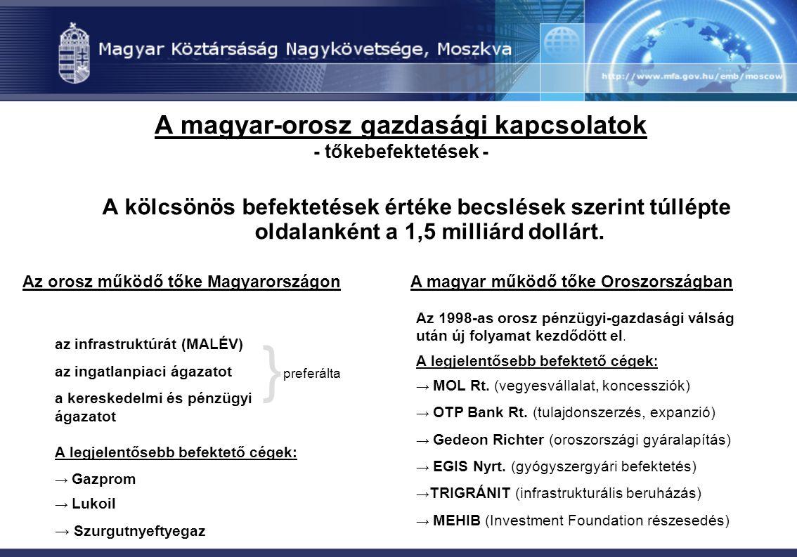 A magyar-orosz gazdasági kapcsolatok - tőkebefektetések - A kölcsönös befektetések értéke becslések szerint túllépte oldalanként a 1,5 milliárd dollár