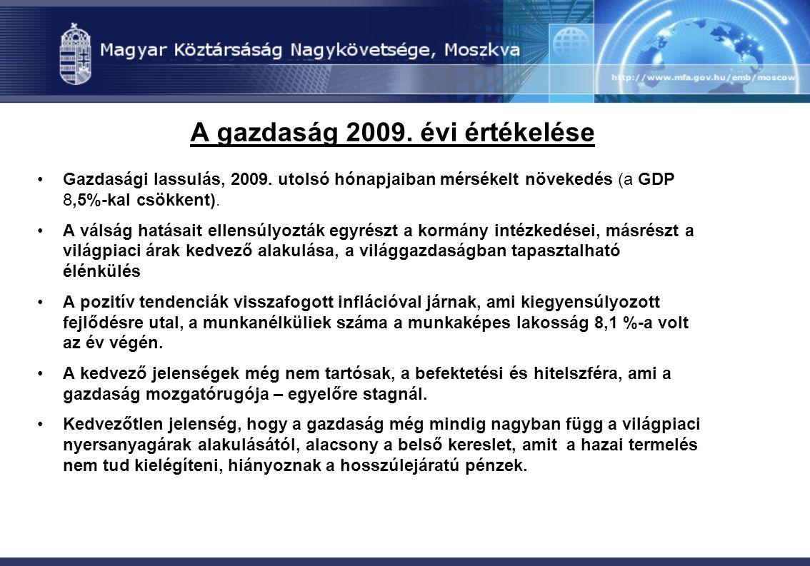 A gazdaság 2009. évi értékelése Gazdasági lassulás, 2009. utolsó hónapjaiban mérsékelt növekedés (a GDP 8,5%-kal csökkent). A válság hatásait ellensúl