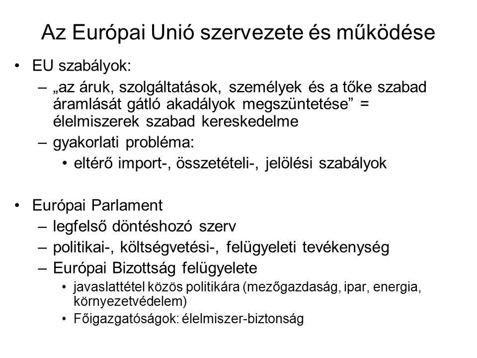 """Az Európai Unió szervezete és működése EU szabályok: –""""az áruk, szolgáltatások, személyek és a tőke szabad áramlását gátló akadályok megszüntetése = élelmiszerek szabad kereskedelme –gyakorlati probléma: eltérő import-, összetételi-, jelölési szabályok Európai Parlament –legfelső döntéshozó szerv –politikai-, költségvetési-, felügyeleti tevékenység –Európai Bizottság felügyelete javaslattétel közös politikára (mezőgazdaság, ipar, energia, környezetvédelem) Főigazgatóságok: élelmiszer-biztonság"""