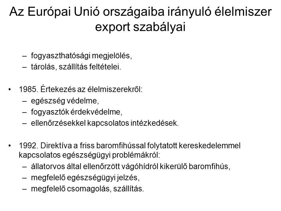 Az Európai Unió országaiba irányuló élelmiszer export szabályai –fogyaszthatósági megjelölés, –tárolás, szállítás feltételei.