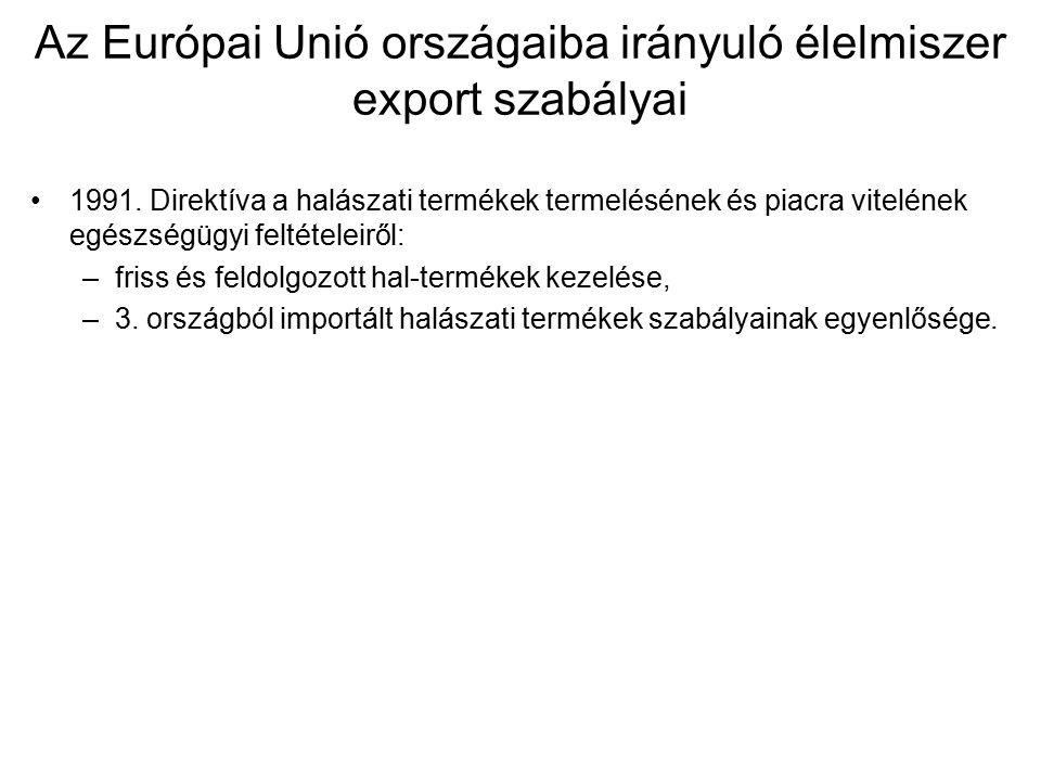 Az Európai Unió országaiba irányuló élelmiszer export szabályai 1991.