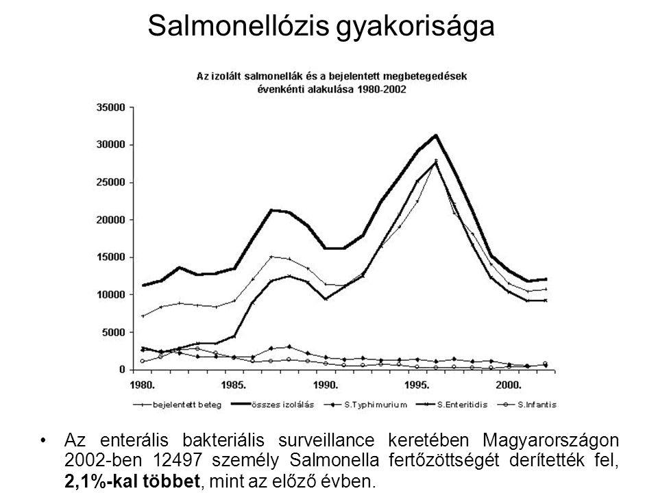 Salmonellózis gyakorisága Az enterális bakteriális surveillance keretében Magyarországon 2002-ben 12497 személy Salmonella fertőzöttségét derítették fel, 2,1%-kal többet, mint az előző évben.