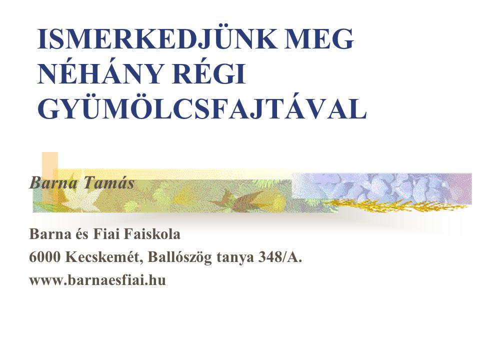 ISMERKEDJÜNK MEG NÉHÁNY RÉGI GYÜMÖLCSFAJTÁVAL Barna Tamás Barna és Fiai Faiskola 6000 Kecskemét, Ballószög tanya 348/A.