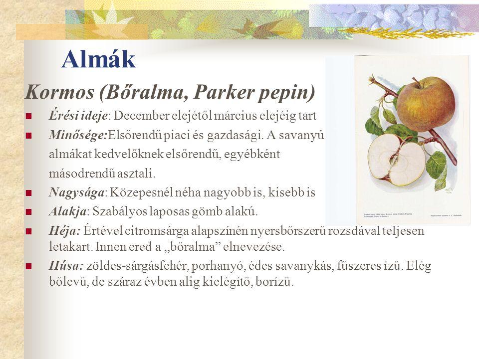 Almák Kormos (Bőralma, Parker pepin) Érési ideje: December elejétől március elejéig tart Minősége:Elsőrendű piaci és gazdasági. A savanyú almákat kedv