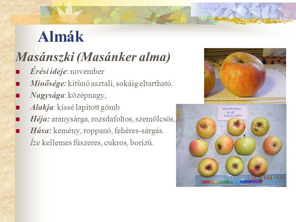 Almák Masánszki (Masánker alma) Érési ideje: november Minősége: kitűnő asztali, sokáig eltartható. Nagysága: középnagy, Alakja: kissé lapított gömb Hé
