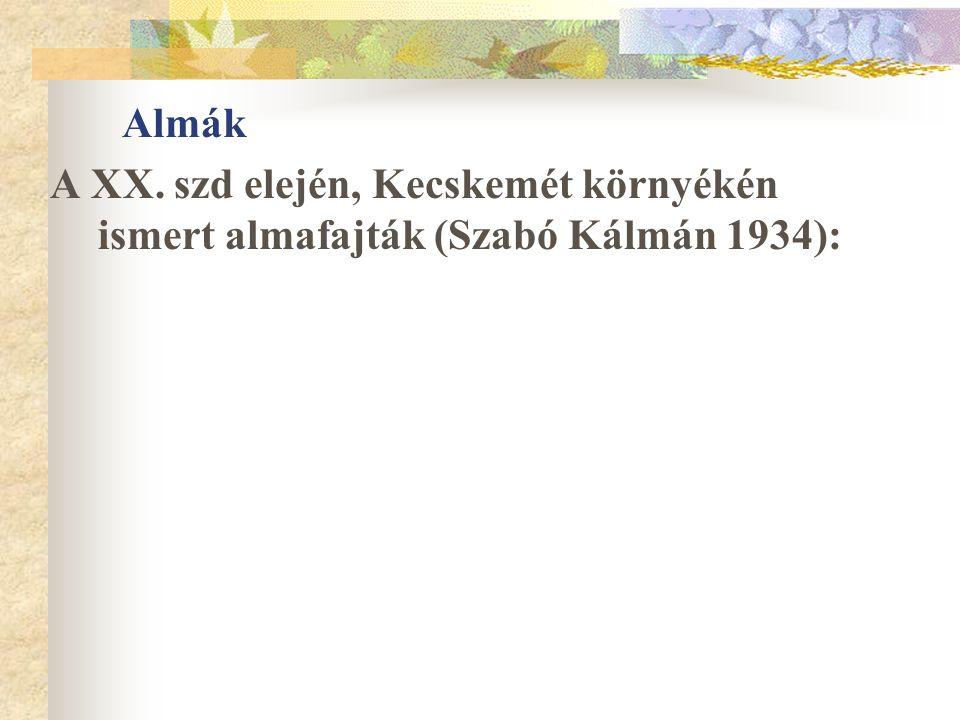 Almák A XX. szd elején, Kecskemét környékén ismert almafajták (Szabó Kálmán 1934):