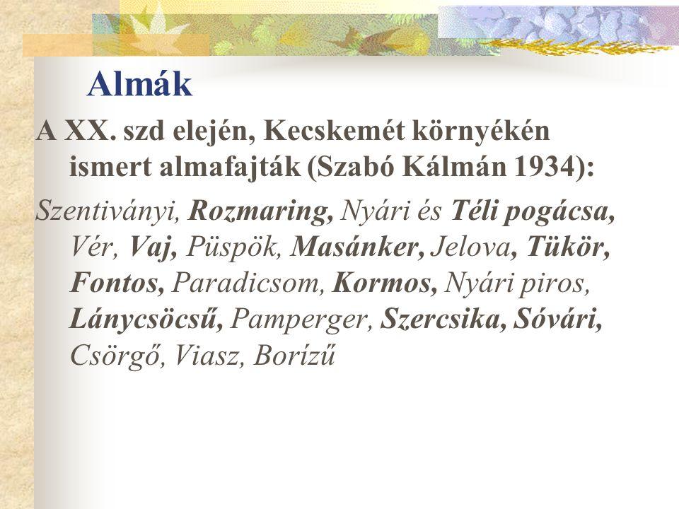 Almák A XX. szd elején, Kecskemét környékén ismert almafajták (Szabó Kálmán 1934): Szentiványi, Rozmaring, Nyári és Téli pogácsa, Vér, Vaj, Püspök, Ma