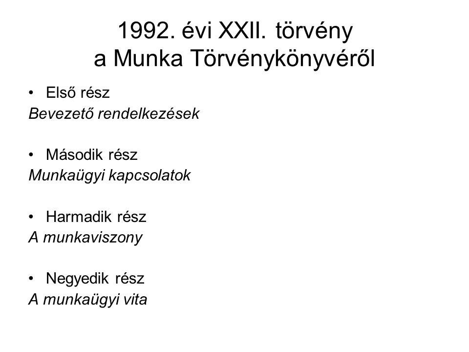 1992. évi XXII. törvény a Munka Törvénykönyvéről Első rész Bevezető rendelkezések Második rész Munkaügyi kapcsolatok Harmadik rész A munkaviszony Negy