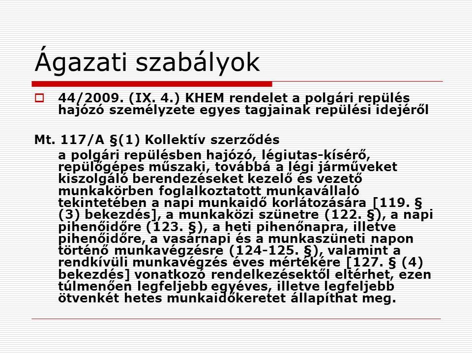Ágazati szabályok  44/2009. (IX.