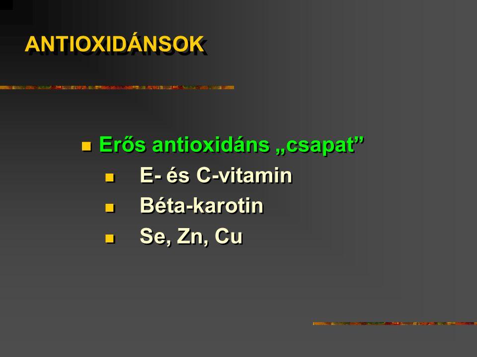 """Erős antioxidáns """"csapat E- és C-vitamin Béta-karotin Se, Zn, Cu Erős antioxidáns """"csapat E- és C-vitamin Béta-karotin Se, Zn, Cu ANTIOXIDÁNSOK"""