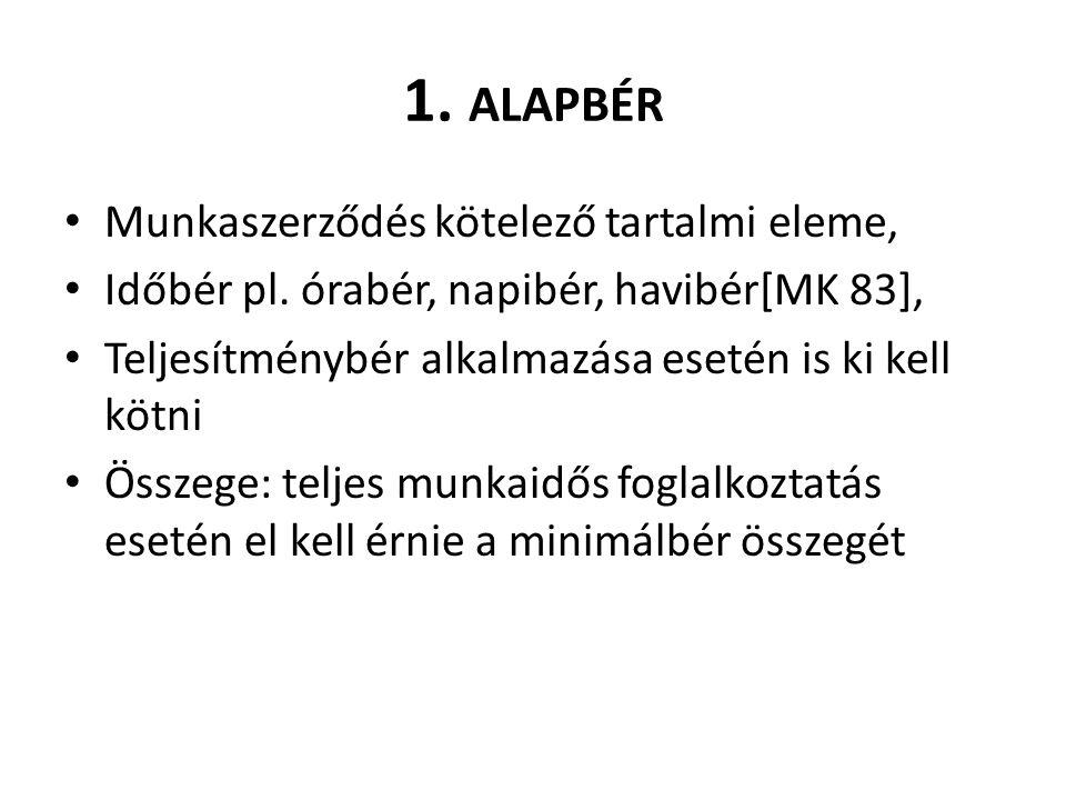 1. ALAPBÉR Munkaszerződés kötelező tartalmi eleme, Időbér pl.