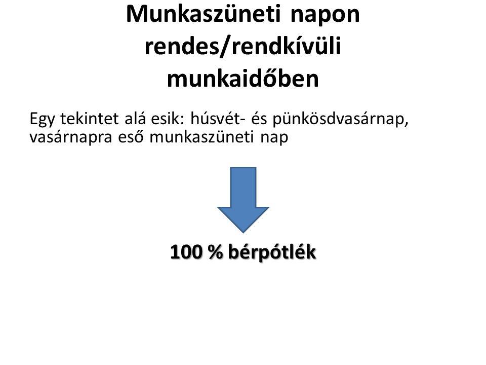 Munkaszüneti napon rendes/rendkívüli munkaidőben Egy tekintet alá esik: húsvét- és pünkösdvasárnap, vasárnapra eső munkaszüneti nap 100 % bérpótlék