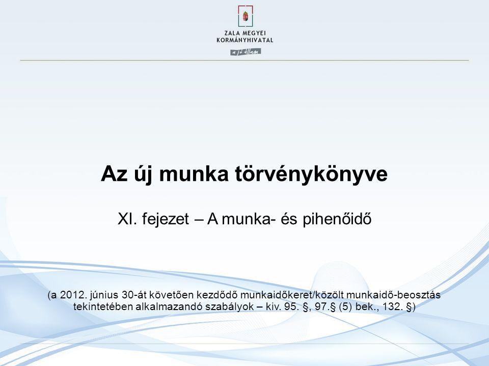 Az új munka törvénykönyve XI. fejezet – A munka- és pihenőidő (a 2012. június 30-át követően kezdődő munkaidőkeret/közölt munkaidő-beosztás tekintetéb