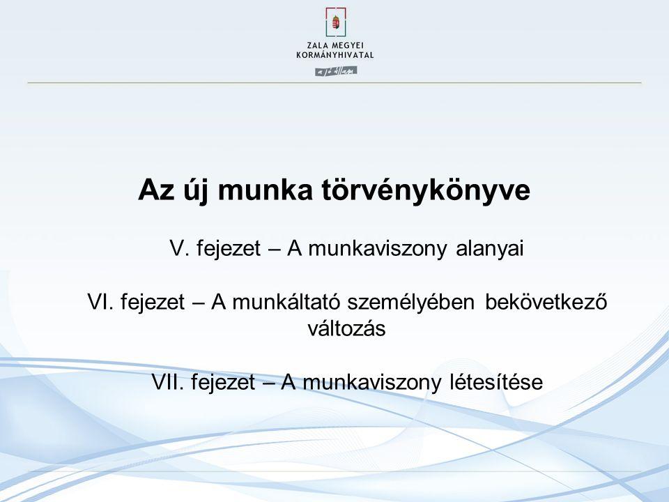 Az új munka törvénykönyve V. fejezet – A munkaviszony alanyai VI.