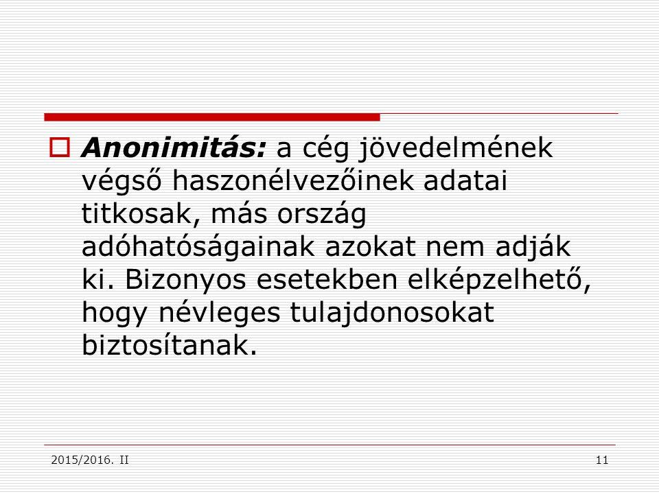 2015/2016. II  Anonimitás: a cég jövedelmének végső haszonélvezőinek adatai titkosak, más ország adóhatóságainak azokat nem adják ki. Bizonyos esetek