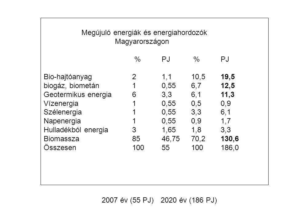 Megújuló energiák és energiahordozók Magyarországon % PJ % PJ Bio-hajtóanyag21,110,519,5 biogáz, biometán10,556,712,5 Geotermikus energia63,36,111,3 Vízenergia10,550,50,9 Szélenergia10,553,36,1 Napenergia10,550,91,7 Hulladékból energia31,651,83,3 Biomassza8546,7570,2130,6 Összesen10055100186,0 2007 év (55 PJ)2020 év (186 PJ)