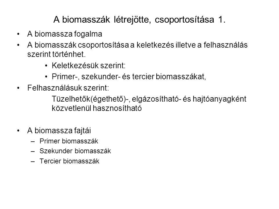 A biomasszák létrejötte, csoportosítása 1.
