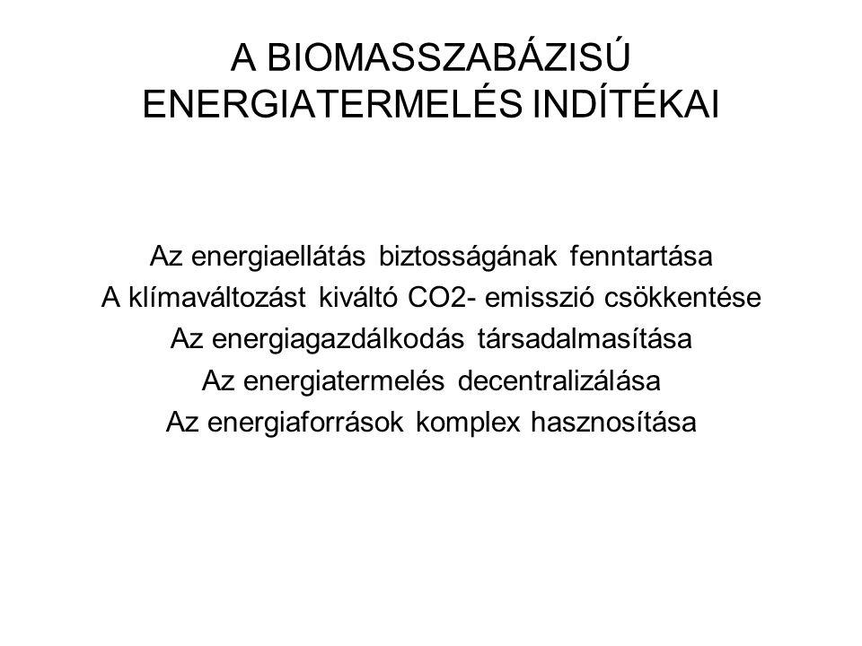 A BIOMASSZABÁZISÚ ENERGIATERMELÉS INDÍTÉKAI Az energiaellátás biztosságának fenntartása A klímaváltozást kiváltó CO2- emisszió csökkentése Az energiagazdálkodás társadalmasítása Az energiatermelés decentralizálása Az energiaforrások komplex hasznosítása