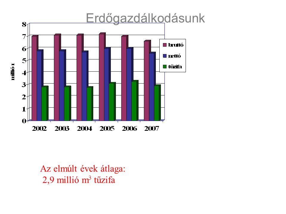 Erdőgazdálkodásunk Az elmúlt évek átlaga: 2,9 millió m 3 tűzifa