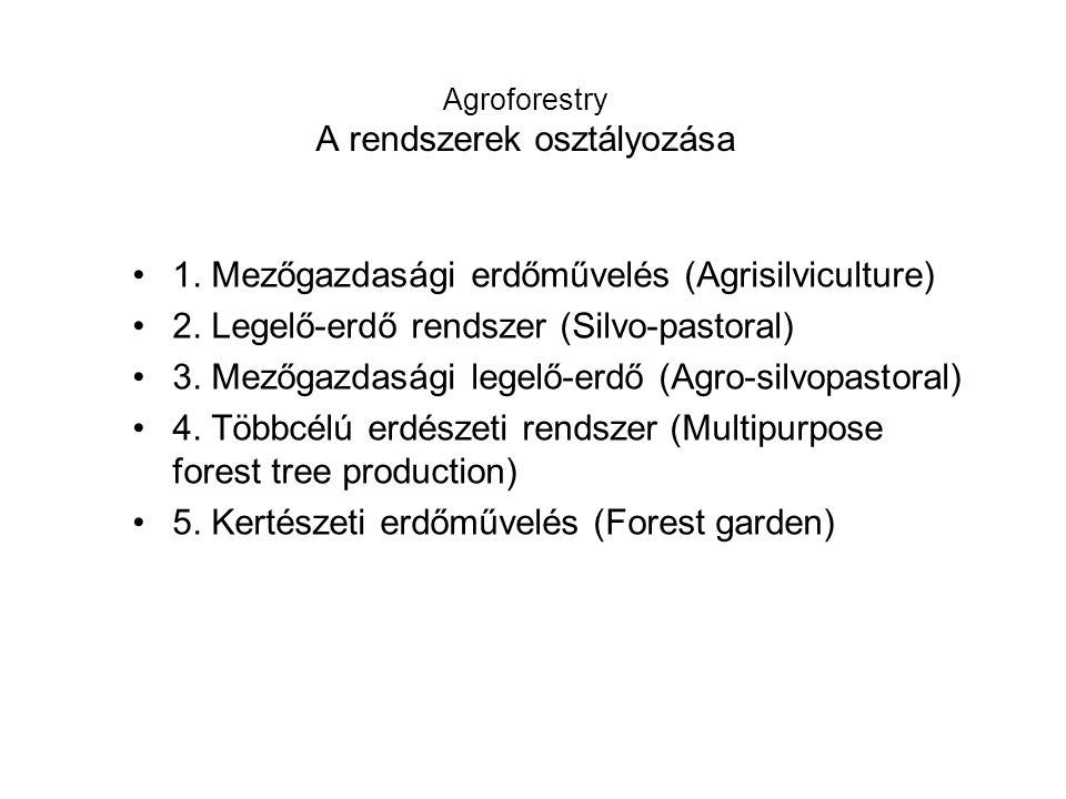 Agroforestry A rendszerek osztályozása 1. Mezőgazdasági erdőművelés (Agrisilviculture) 2.